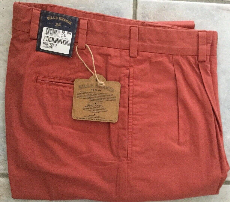 BRAND NEW-Bills khakis M2P-WRPB Size 36 PLEATED WEATHERED RED POPLIN