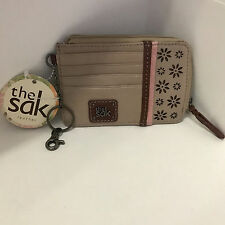 NEW ARRIVAL! THE SAK IRIS TAUPE FLOWER POWER ID CARD LEATHER COIN PURSE WALLET