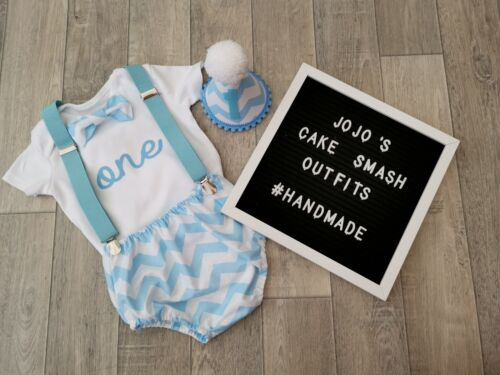 Baby Boys 1st Birthday Cake Smash Outfit Blue And White// Handmade.Photo Prop