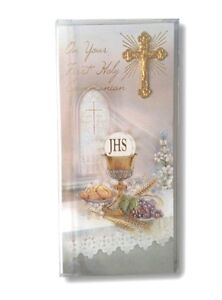 First Holy Communion Greeting Card 3d Metal Crucifix And Boxed