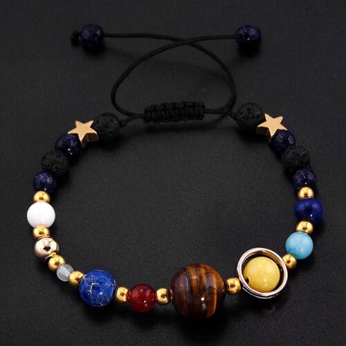 Unisexe Système Solaire Bracelet Univers Galaxy Pierre naturelle Perles Bracelet QK
