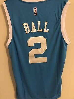 hot sales 3ef84 5e081 NWT Lonzo Ball #2 LA Lakers Jersey 2018 Throwback Blue Stitched | eBay