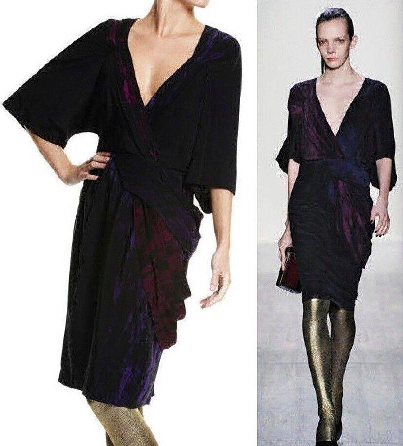 408 BCBG MAXAZRIA Runway Twisted Waist Plumberry Combo Draped Silk Dress