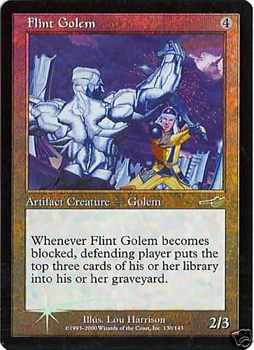 NM Nemesis Foil MTG Flint Golem