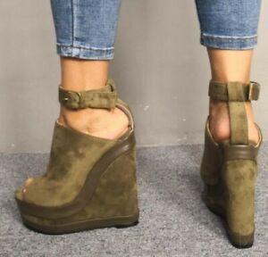 Womens-Ladies-Open-Toe-Buckle-Ankle-Strap-High-Heel-Wedge-Platform-Sandals-Shoes