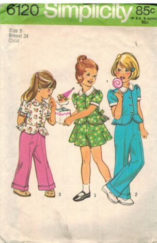6120 Vintage Simplicity Sewing Pattern Girls Top Stitched Top Skirt Pants OOP