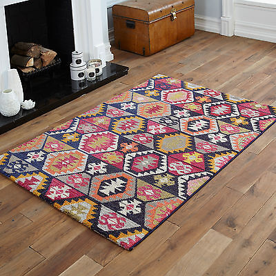 BLACK WHITE PINK YELLOW RED RUG MULTI COLOUR BEST QUALITY SMALL 60x120cm MAT RUG
