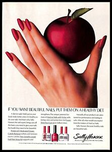 1987-Sally-Hansen-Nail-Care-Vintage-PRINT-ADVERTISEMENT-Red-Apple-Womans-Hand