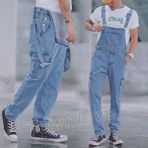 b1080662c4e7 Image is loading Mens-Denim-Casual-Slim-Overalls-Jumpsuits-Jeans-Suspenders-