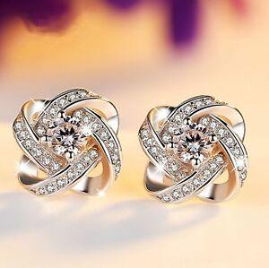 Womens Swirl Earrings Sterling Silver Plated Round Stud Studs Crystal Jewellery 8000000224736