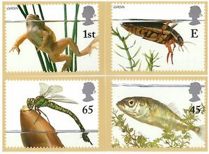 GREAT BRITAIN 2001 EUROPA POND LIFE SET OF 4 MINT PHQ CARDS - Ossett, United Kingdom - GREAT BRITAIN 2001 EUROPA POND LIFE SET OF 4 MINT PHQ CARDS - Ossett, United Kingdom