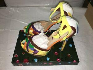 FSJ Women's Shoes Multicolor, Open Toe, High Heels, Size 8