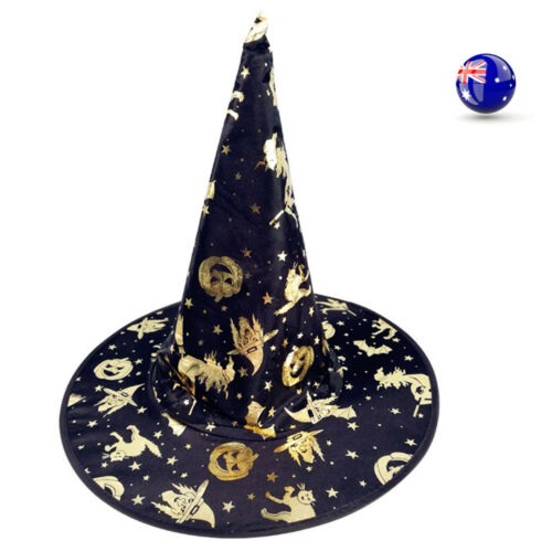 Women Adult Girl Child Halloween Costume Fancy long gold Black Witches Hat Cap