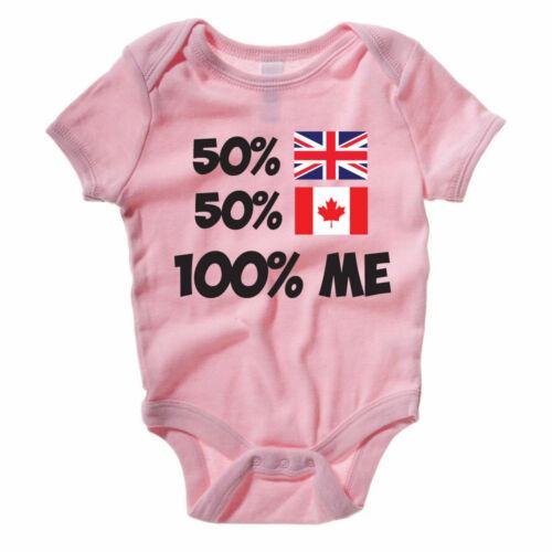 50/% British 50/% Canada 100/% Moi-UK//Canada//Nouveauté Baby Grow//BABY VEST