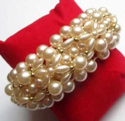 Rispettoso Joli Bracelet élastique Bijou Vintage Multirangs Perles Imitation Nacre Perle P