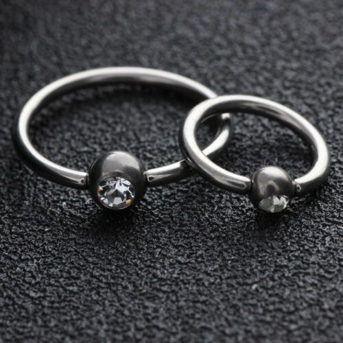 Titanium Crystal CBR Nose Eyebrow Tragus Lip Ear Hoop Ring Piercing 16G Jewelry