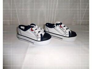 Chaussures-Baskets-Bas-Toile-Blanc-Marine-Lacet-Zip-Creeks-Pointure-19