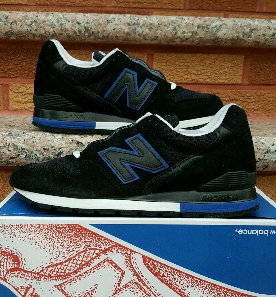 Men's Black and Royal Blue New Balance 996 Sneakers- Size 8.5D- Made in USA