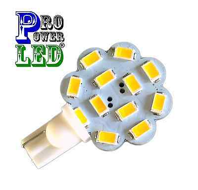 T10 Wedge Base 12SMD 2X Ultra 2.9W Disc LED, 12V AC/ DC Replaces 25-30W