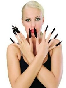 Long Black Fake Nails Halloween Costume Pointy Fingernails ...