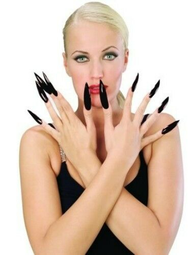 Long Black Fake Nails Halloween Costume Pointy Fingernails ...