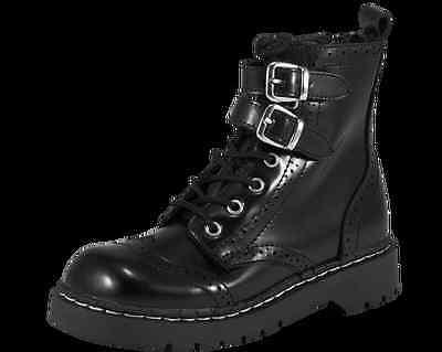 T.U.K Anarchic T2218 Black Leather White Flowers Toe Cap Boot Zip Innenseite