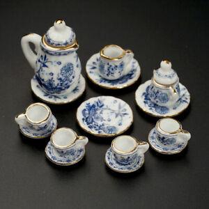 15Pcs-Dining-Ware-Ceramic-Blue-Flower-Set-For-1-12-Dollhouse-Miniatures-C8T4