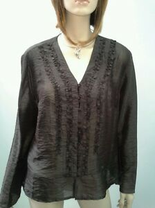 PERRI-CUTTEN-RSVP-Size-16-Chocolate-V-Neck-Button-Frill-Blouse-NWOT-RRP-169-95
