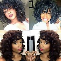 Short Bob Glueless Lace Front Human Hair Wigs Nature Black Curly Wave Full Lace