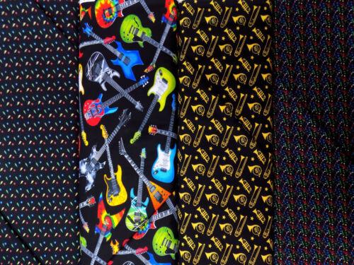 100/% Craft Cotton Music Fabric Musical Notes Trumpet Trombone Guitar Star