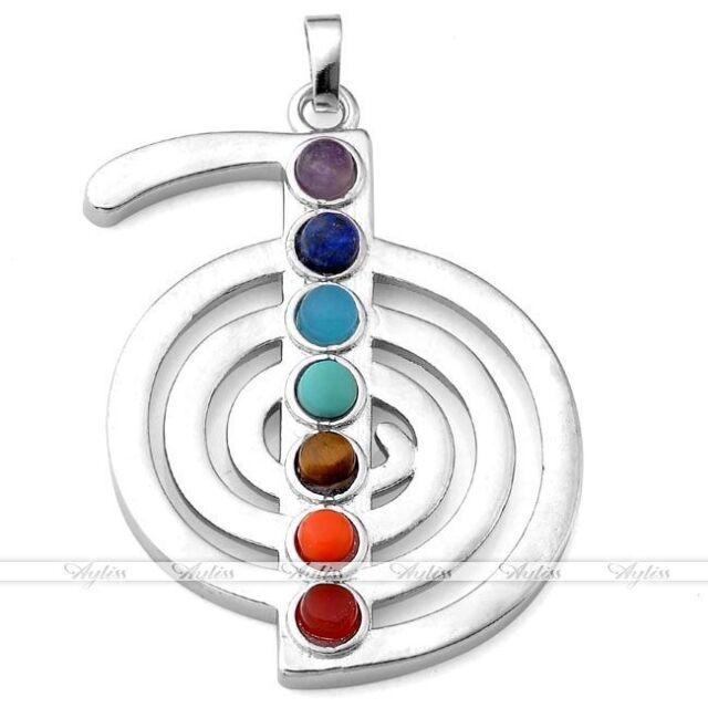 Cho Ku Rei Power Symbol 7 Chakra Resin Beads Silvery Reiki Healing