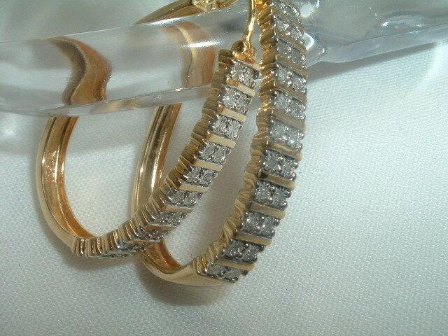 gold Vermeil on Sterling Diamond Gypsy Hoop Pierced Earrings in Gift Box