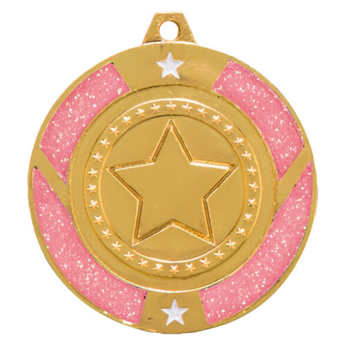 FREE ENGRAVING RIBBON /& ukP/&P modern tap Glitter Star Pink DANCE 50mm Medal