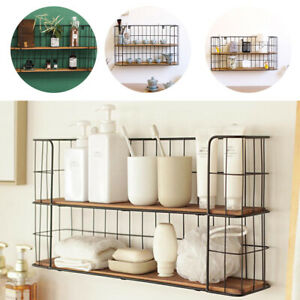 Metal Wire Shelf Unit Wall Mounted Floating Shelf Bathroom Kitchen Storage Rack Ebay