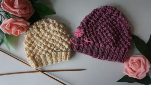 Knitted Newborn Hat Trinity Stitch Seed St PDF Written Pattern