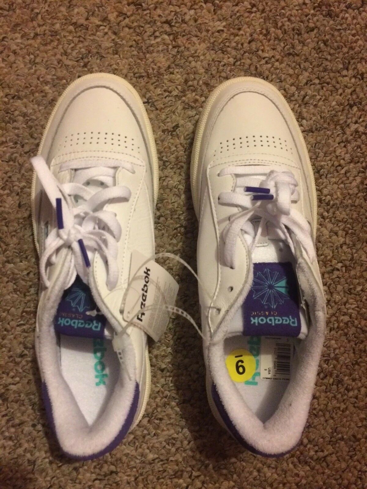 88c5db8af15f8f Reebok Mens Size 9 White White White Shoes Sneakers Purple Off White New  25245b