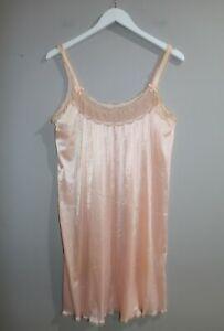 VINTAGE-Original-1980-039-s-Soft-Apricot-Lace-Detail-Sleeveless-Slip-Dress-VIN59