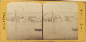 San Giorgio Maggiore Venezia Italia Foto Stereo Vintage Albumina Ca 1870