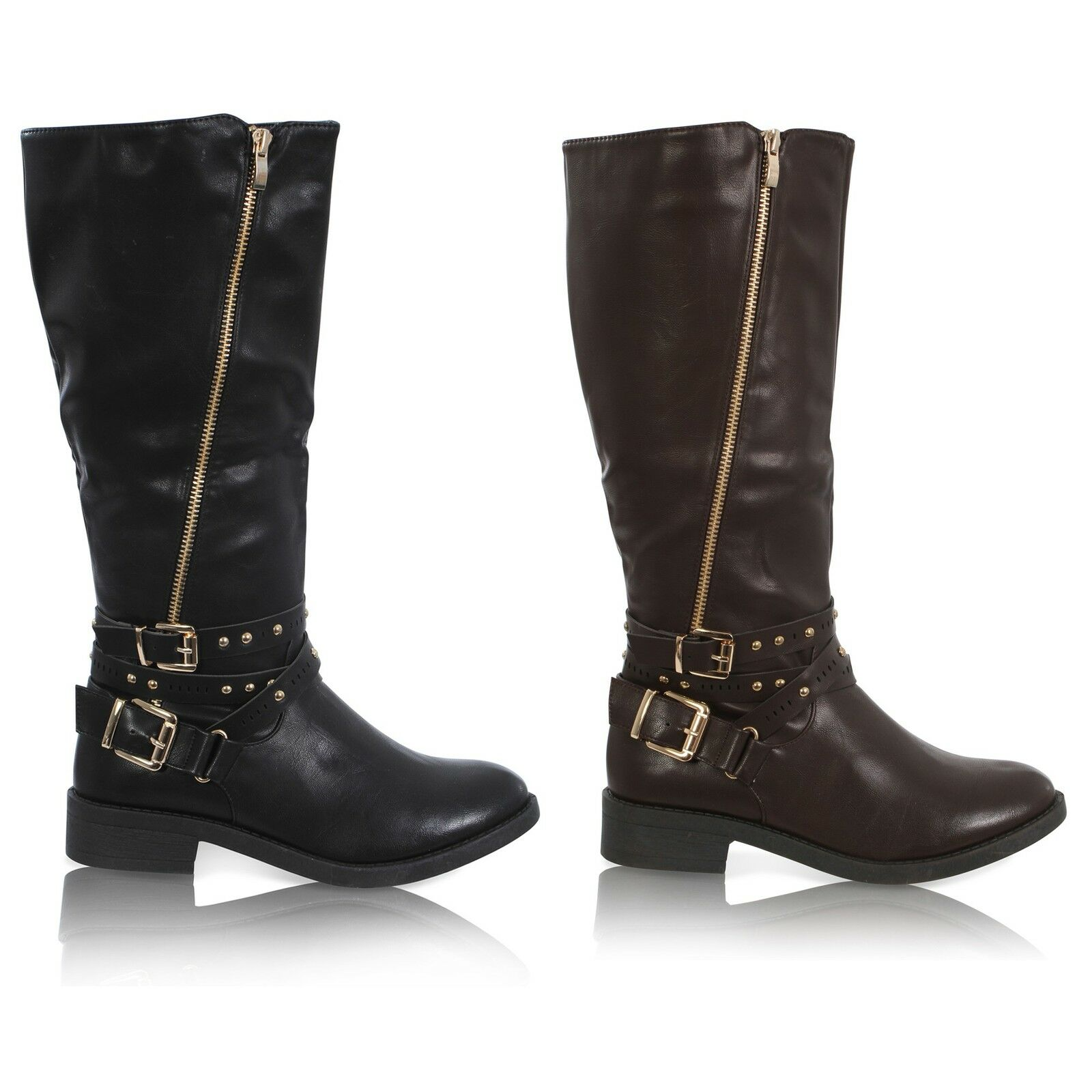 NEW WOMENS LADIES MID CALF STUDDED ZIP UP UNDER KNEE BUCKLE BOOTS SHOES SIZE 3-8