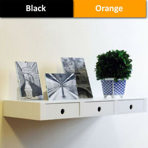 Floating-3-Drawers-Wall-Shelves-Storage-Display-Shelving-White-Black-Orange-60cm