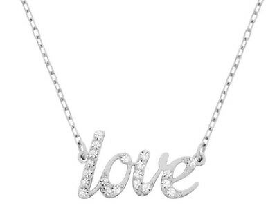 Swarovski Emotion Necklace, LOVE Rhodium-Plated Clear Crystal Authentic 5093577