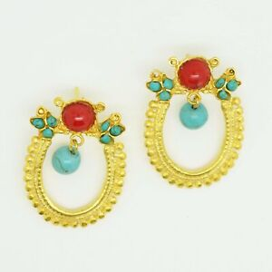 Aylas-ottoman-gold-plated-semi-precious-gem-stone-earrings-Agate-Turquoise