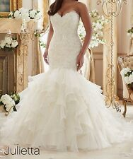 2017 New ivory Mermaid V Neck Lace Wedding Dress Bridal Gown inventory Made 6-18