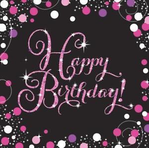 16 Servietten Happy Birthday Schwarz Pink Weiss Geburtstag Tischdeko