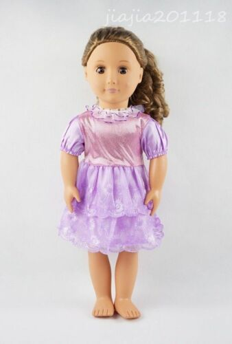 Purple Lace Party Skirt Dress Doll Clothes Girl Gifts Fit For 18/'/' American Girl