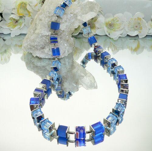 Halskette Würfelkette Würfel Cube Glas Millefiori blau hellblau dunkelblau 092m