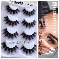 4 Pairs Top 3D 100% Mink Soft Long Thick Makeup Eye Lashes False Eyelashes | USA