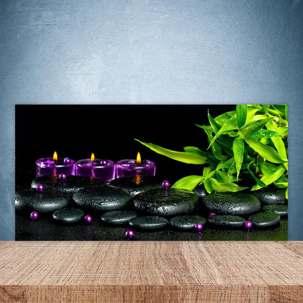 Crédence de cuisine en verre Panneau Paroi 100x50 Art Bougie Pierres Feuilles