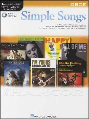 Instruction Books, Cds & Video Simple Songs Oboe Instrumental Play-along Sheet Music Book/audio Adele Coldplay