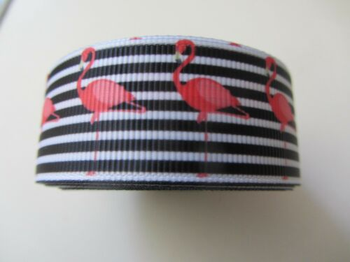 1M GROSGRAIN 25MM RIBBON FLAMINGOS IDEAL FOR CRAFTING